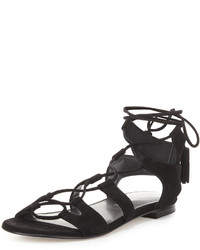 Stuart Weitzman Romanflat Suede Flat Gladiator Sandal Black
