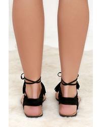 9b197f04a70 ... LuLu s Sun Kiss Black Suede Lace Up Flat Sandals ...
