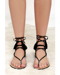 f0811d45154 ... LuLu s Sun Kiss Black Suede Lace Up Flat Sandals