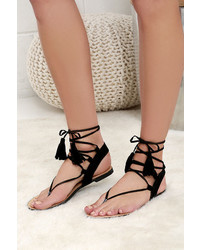 LuLu*s Sun Kiss Black Suede Lace Up Flat Sandals