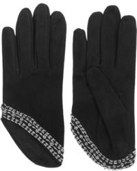 Alexander McQueen Embellished Suede Gloves