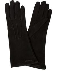 Prada Black Suede Pin Tucked Long Gloves