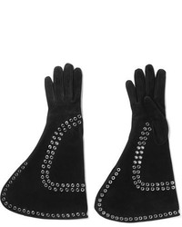 Eyelet embellished suede gloves black medium 5083874