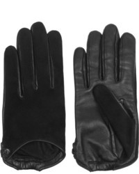 Givenchy Classic Line Short Gloves In Black Suede And Leather