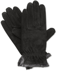 Isotoner Suede Gloves With Gathered Wrist