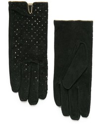 Mango Laser Cut Suede Gloves