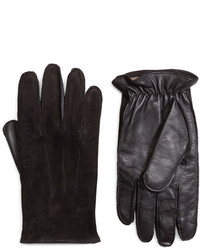 Brooks Brothers Leather And Suede Touch Screen Gloves