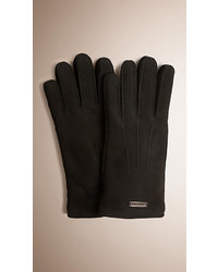 Burberry Shearling Lined Suede Gloves