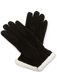 Isotoner Sherpa Fleece Lined Suede Gloves