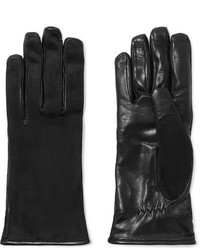 Lanvin Suede And Leather Gloves Black