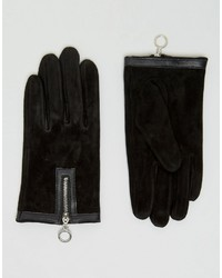Asos Suede Gloves With Circle Zip Gloves