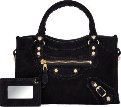 Arena Mini City Bag Black Suede Handbag By Balenciaga