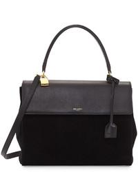 Moujik large suede leather satchel bag black medium 120730