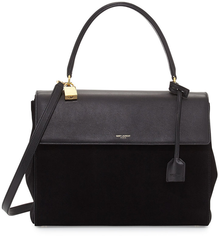 Saint Laurent Moujik Large Suede Leather Satchel Bag Black | Where ...