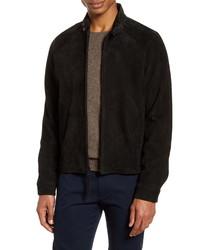 Black Suede Harrington Jacket