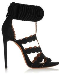 Alaia Alaa Laser Cut Suede Sandals