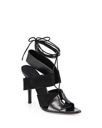 Alexander Wang Marlene Leather Suede Lace Up Sandals Black