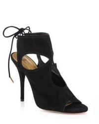 Aquazzura Sexy Thing Cutout Suede Tie Back Sandals