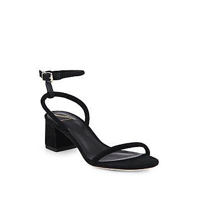B Brian Atwood Suede Chunky Heel Sandals Black | Where to buy ...