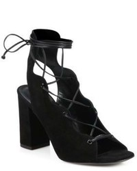 Saint Laurent Babies Lace Up Suede Block Heel Sandals