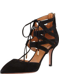 Aquazzura Belgravia Lattice Suede Sandal Black