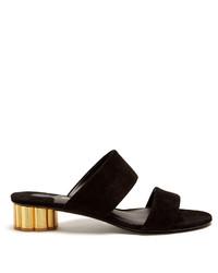 Salvatore Ferragamo Belluno Flower Heel Suede Sandals