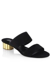 Salvatore Ferragamo Belluno Flower Heel Suede Slide Sandals
