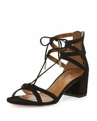 Aquazzura Beverly Hills Suede Lace Up Sandal Black