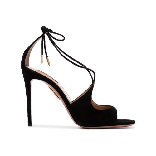 Aquazzura Black Sofia 105 Suede Sandals