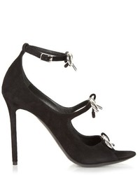 Balenciaga Boucl Bow Suede High Heel Sandals