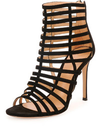 Gianvito Rossi Caged Suede Stiletto Sandal Black