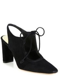 The Row Camil Suede Ankle Tie Slingbacks
