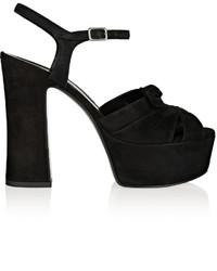 Saint Laurent Candy Suede Platform Sandals Black