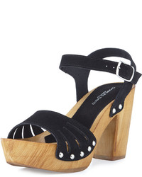 Charles David Coco Suede Wood Heel Sandal Black