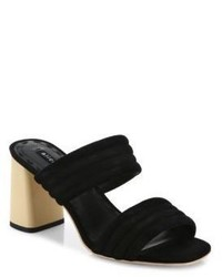 Alice + Olivia Colby Suede Block Heel Slide Sandals
