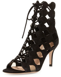 Gianvito Rossi Curvy Cutout Lace Up Suede Sandal Black