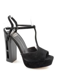 Dolce Vita Jenna Black Peep Toe Suede Platforms Sandals Shoes