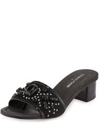 Donald J Pliner Maxx Jeweled Low Heel Slide Sandal Black