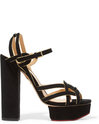 Charlotte Olympia Forever Young Metallic Trimmed Suede Platform Sandals Black