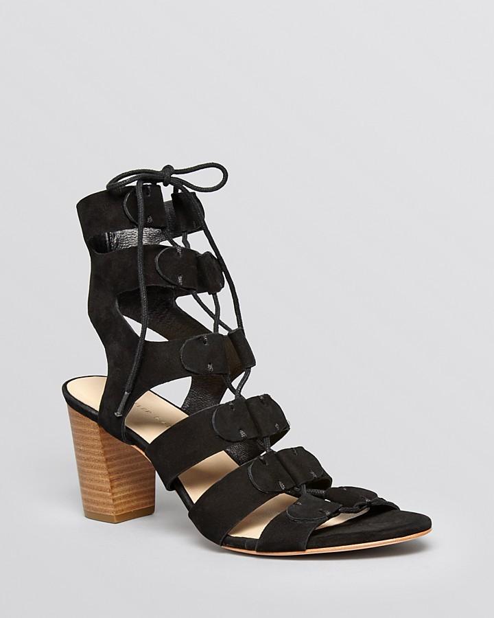 ec22ba117fd8 ... Black Suede Heeled Sandals Loeffler Randall Ghillie Lace Up Sandals  Thea Block Heel ...