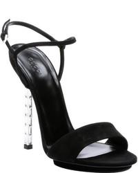 Gucci Black Suede Adlena Crystal Detail Heel Sandals