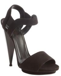 Gucci Black Suede Open Toe Liberty Heel Sandals