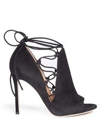 Gianvito Rossi Jennie Cutout Lace Up Suede Sandal Boots