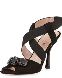 Kate Spade New York Devlin Suede Crisscross Sandal Black