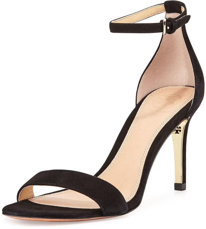 1d4b8f880e6 ... Black Suede Heeled Sandals Tory Burch Keri Suede Ankle Strap Sandal ...