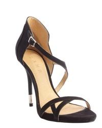 L.A.M.B. Black Suede Flavia Heel Sandals