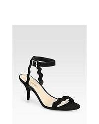 Loeffler Randall Reina Suede Ankle Strap Sandals Black
