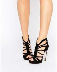 Forever Unique Martini Caged Suede Heeled Sandals