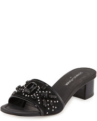 Donald J Pliner Maxx Jeweled Low Heel Slide Sandal Black