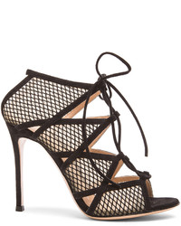 Gianvito Rossi Mesh Suede Heels In Black